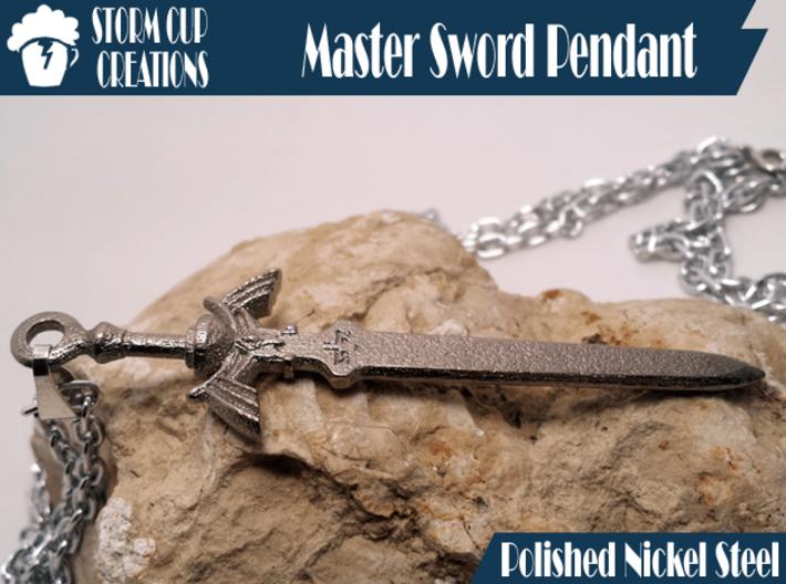 Master Sword Pendant 3d printed Polished Nickel