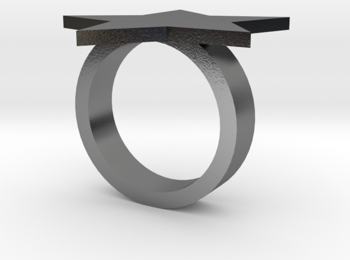 Silver Star Ring (large star) size 6 3d printed