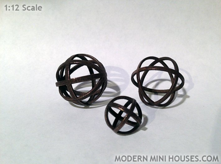 Sphere 1:12 scale decor 3d printed Polished Bronze Steel