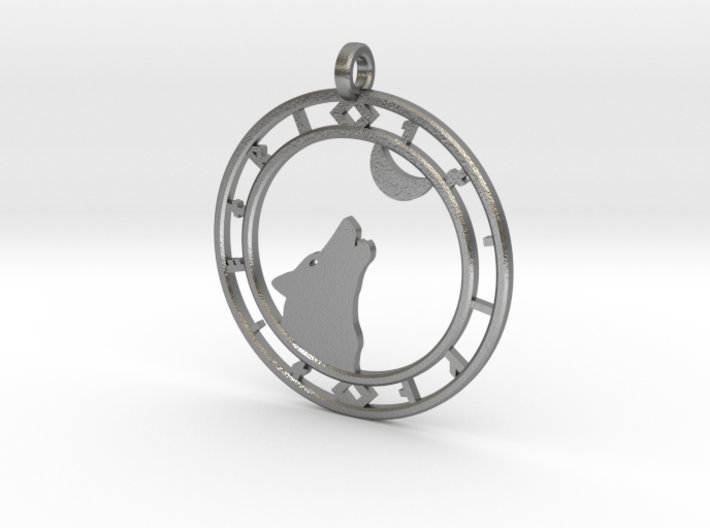 Wolf head with ring of runes 3d printed