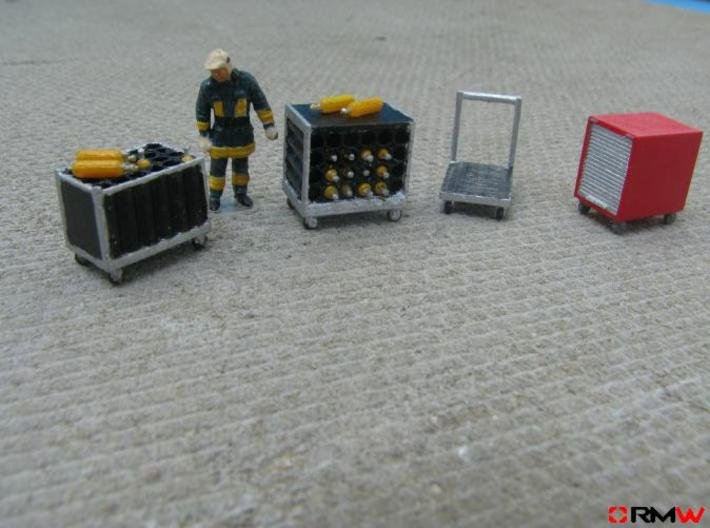 HO/1:87 Rollcontainer set 1a (without bottles) kit 3d printed Painted and assembled (figure not included)