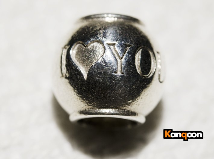 I love you - Pendant 3d printed Polished Silver printed
