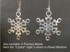 """Ice Snowflake Earrings 3d printed Sample of """"Crystal"""" snowflake earrings in Plated Rhodium (""""Crystal"""" model)"""
