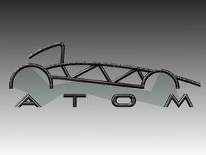 Atom Logo interpretation in Polished Bronzed Silver Steel