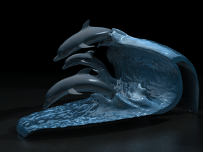 """Porpoise wave (small / 2"""" tall) in Full Color Sandstone"""