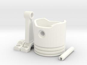 Piston Keychain in White Processed Versatile Plastic