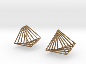 Rotating triangle earrings in Natural Brass