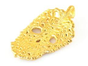 Leaf Skeleton Pendant in Polished Gold Steel