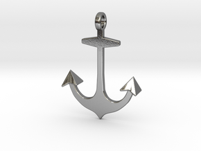 Anchor necklace/pendant...customize it! in Polished Silver