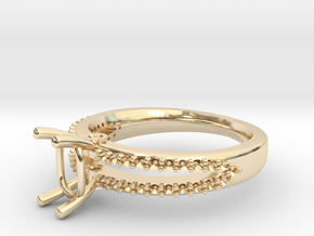 Cushion Engagement Ring in 14K Yellow Gold