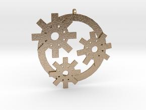Gear-pendant in Polished Gold Steel