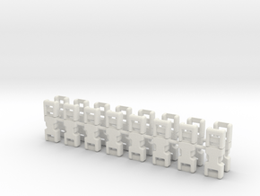 1/6 scale, 3mm Fixed Buckles X16 in White Natural Versatile Plastic