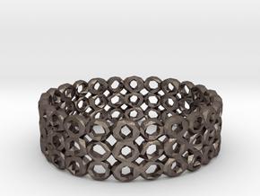 Ring Bracelet Low Polygon in Polished Bronzed Silver Steel