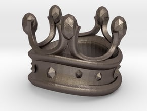King Rook Ring in Polished Bronzed Silver Steel: Large