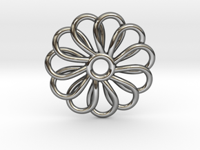 Abp01 Flower Pendant in Fine Detail Polished Silver