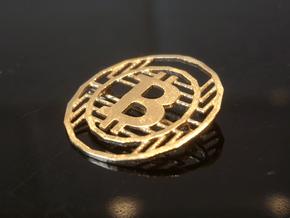 Bitcoin Pin - 20mm in Natural Brass