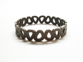 Pebble Bangle Bracelet in Polished Bronzed Silver Steel: Small