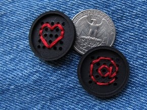 """1"""" embroidery button (two) in Black Natural Versatile Plastic"""