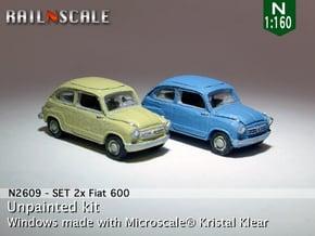 SET 2x Fiat 600 (N 1:160) in Smooth Fine Detail Plastic