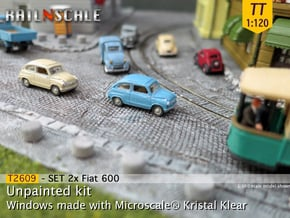 SET 2x Fiat 600 (TT 1:120) in Smooth Fine Detail Plastic