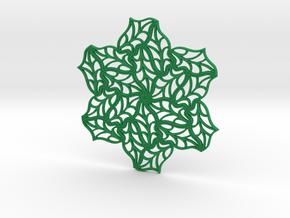 Drink Coaster- Tileable - Leaf Pattern in Green Processed Versatile Plastic