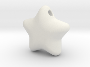 Cute candy STAR (with hole) in White Natural Versatile Plastic