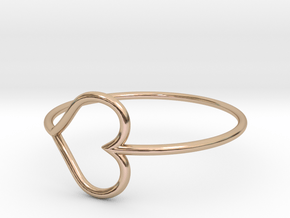 Size 7 Love Heart in 14k Rose Gold Plated Brass