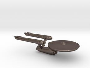 USS Enterprise Miniature 1:5000 in Polished Bronzed Silver Steel