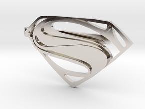 Man of Steel Tie Clip in Rhodium Plated Brass