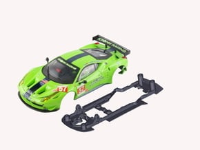 S08-ST3 Chassis for Carrera Ferrari 458 GT2 SSD/LM in Black Natural Versatile Plastic