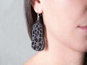 Cells Earrings  in Black Natural Versatile Plastic