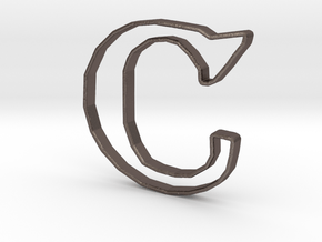 Typography Pendant C in Polished Bronzed Silver Steel
