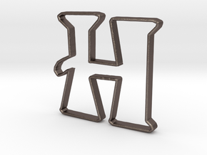 Typography Pendant H in Polished Bronzed Silver Steel
