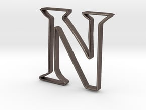 Typography Pendant N in Polished Bronzed Silver Steel