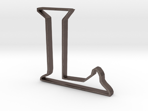 Typography Pendant L in Polished Bronzed Silver Steel
