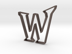 Typography Pendant W in Polished Bronzed Silver Steel