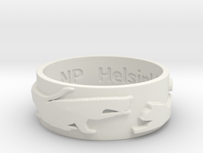 Cat Silhouette Ring (size by request) in White Natural Versatile Plastic