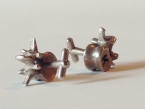 Lumbar Vertebra Cufflinks - Uninscribed in Polished Bronzed Silver Steel