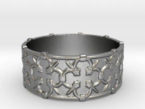 Gothic Lattice Ring in Natural Silver