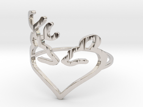 Size 6 Buck Heart in Rhodium Plated Brass