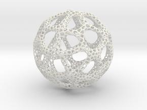 Voronoi Sphere 200mm in White Natural Versatile Plastic