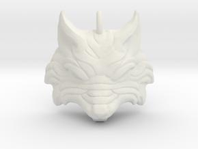 Fenrir - Norse Wolf Pendant in White Natural Versatile Plastic