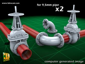 PIPELINE- valve No.2 & elbow (9,5mm) in Smooth Fine Detail Plastic