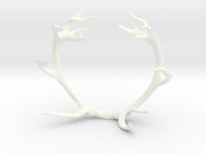 Red Deer Antler Bracelet 55mm in White Processed Versatile Plastic
