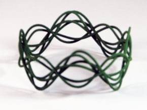 Wave Bangle B02M in Green Processed Versatile Plastic