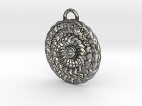 Sun Mandala Medalion  in Polished Silver