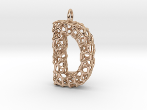 Organic D Pendant in 14k Rose Gold Plated Brass