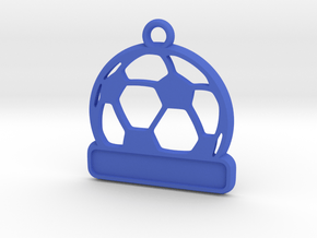Football / Soccer Ball Keychain in Blue Processed Versatile Plastic