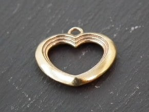 Cascading Heart Pendant in Polished Brass