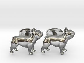 French Bulldog Cufflinks. in Fine Detail Polished Silver